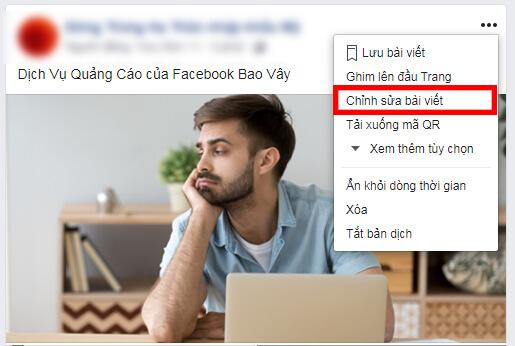 Nút chỉnh sửa bài viết trên facebook